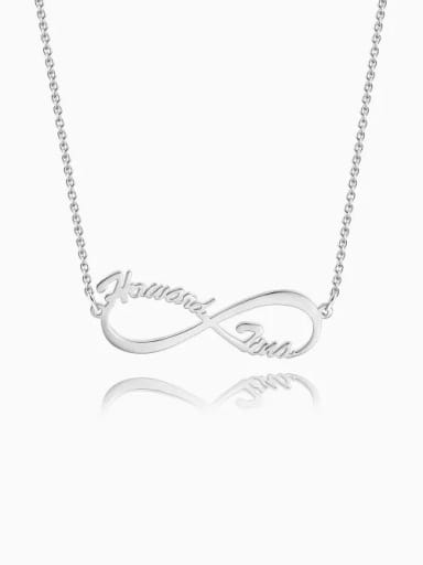 18K White Gold Plated Cutsomize Infinity Personalized Name Necklace 925 Sterling Silver