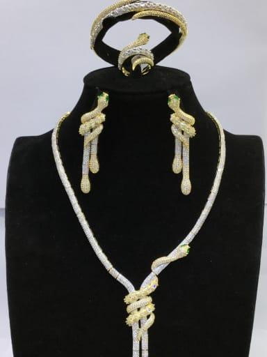 GODKI Luxury Women Wedding Dubai Copper With MIX Plated Fashion Animal 4 Piece Jewelry Set