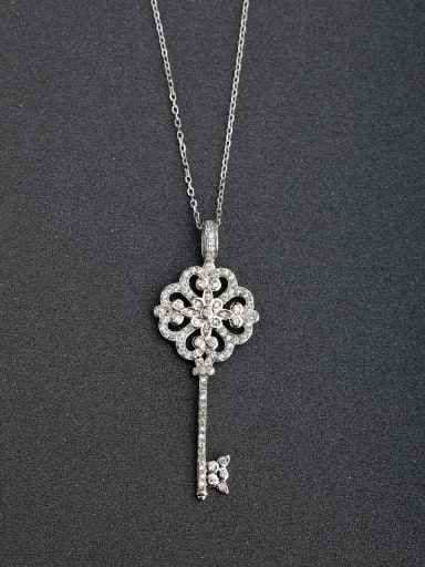 custom Fashion Heart Key Cubic Zirconias 925 Silver Necklaces