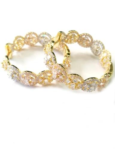 GODKI Luxury Women Wedding Dubai Copper With Mix Plated Fashion Round Earrings