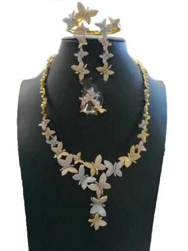 GODKI Luxury Women Wedding Dubai Copper With Mix Plated Fashion Butterfly 4 Piece Jewelry Set