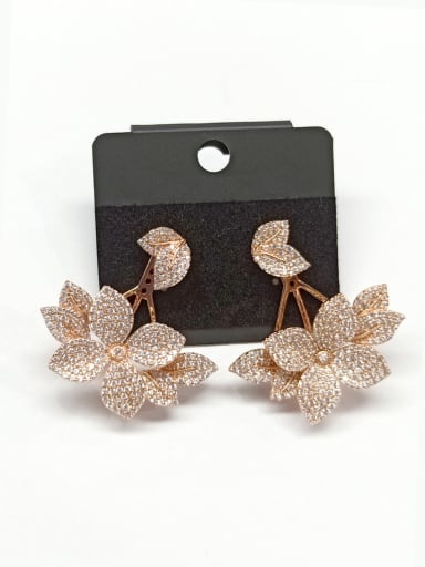 Copper With Rose Gold Plated Fashion Leaf Earrings
