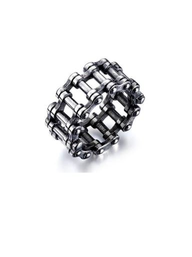 Stainless Steel With Gun Plated Personality Bicycle Chain Men Rings