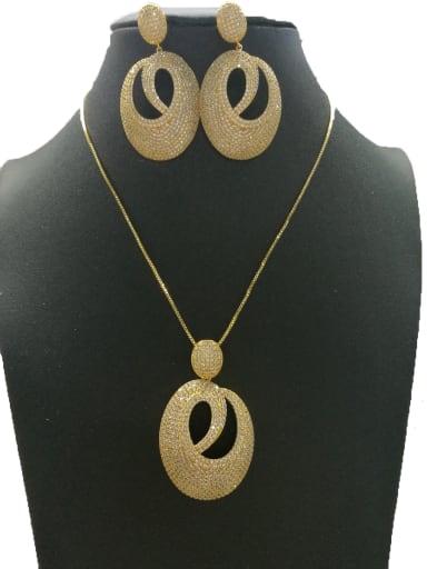 GODKI Luxury Women Wedding Dubai Copper With Gold Plated Fashion Oval 2 Piece Jewelry Set
