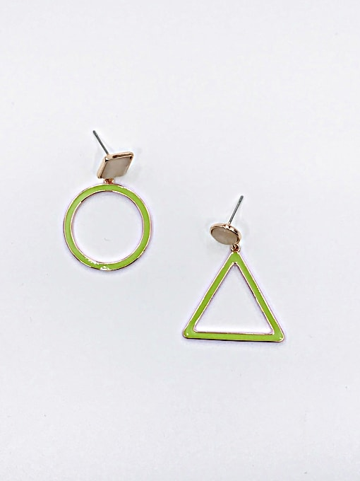 VIENNOIS Zinc Alloy Cats Eye White Enamel Triangle Minimalist Drop Earring 0