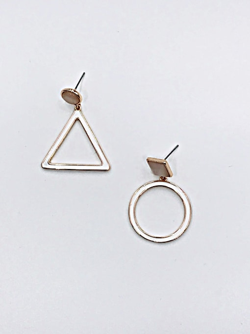 VIENNOIS Zinc Alloy Cats Eye White Enamel Triangle Minimalist Drop Earring 1