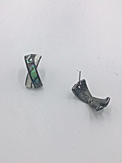 VIENNOIS Zinc Alloy Shell Multi Color Letter Minimalist Stud Earring 0