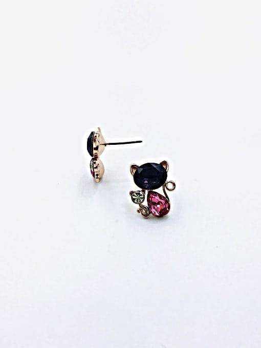 VIENNOIS Brass Glass Stone Purple Cat Cute Stud Earring