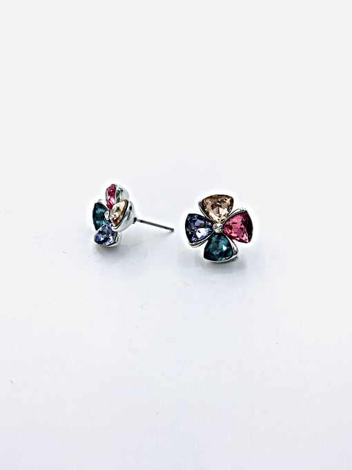 VIENNOIS Zinc Alloy Glass Stone Clear Flower Cute Stud Earring 1