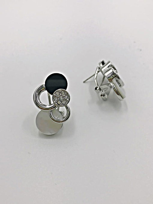VIENNOIS Zinc Alloy Shell White Acrylic Round Classic Clip Earring 0