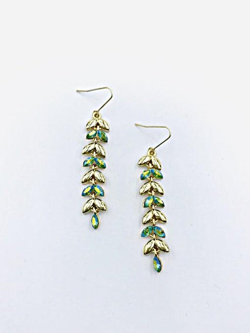 VIENNOIS Zinc Alloy Swarovski Crystal Multi Color Leaf Dainty Hook Earring 2