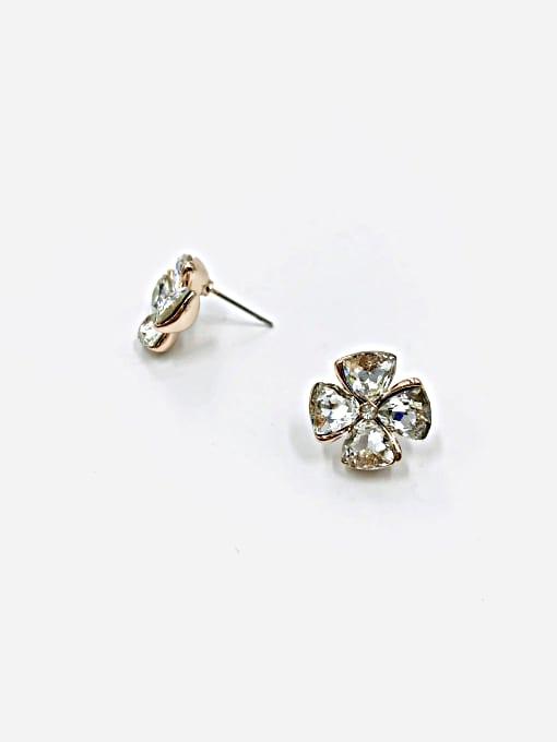 VIENNOIS Zinc Alloy Glass Stone Clear Flower Cute Stud Earring