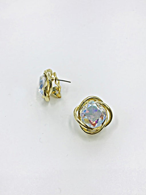 VIENNOIS Zinc Alloy Glass Stone Red Irregular Minimalist Clip Earring 1