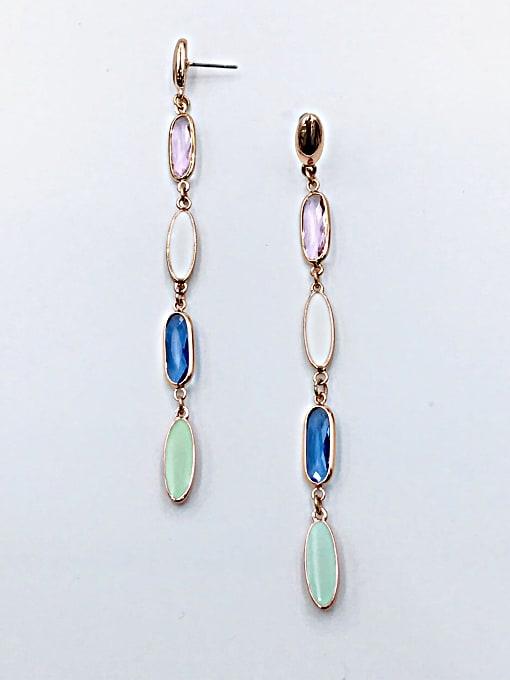 VIENNOIS Zinc Alloy Glass Stone Multi Color Enamel Oval Trend Drop Earring