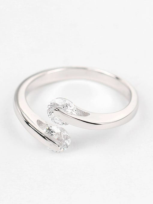 Peng Yuan Simple Zircon Silver Opening Ring