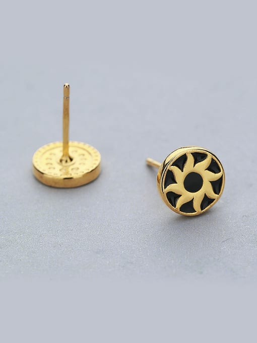 One Silver Gold Plated Sunflower Shaped stud Earring