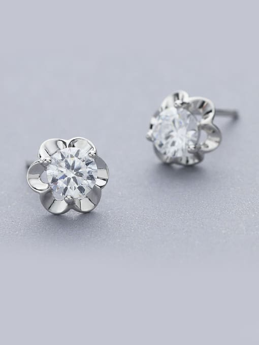 One Silver 2018 925 Silver Flower Zircon stud Earring