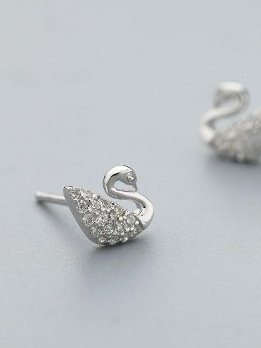 One Silver 925 Silver Swan Shaped Zircon stud Earring 2