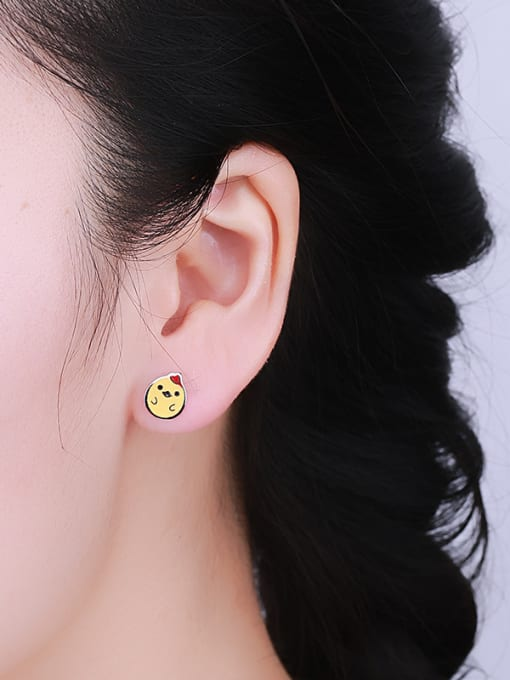 One Silver Cute Chicken Shaped Stud Earrings 1