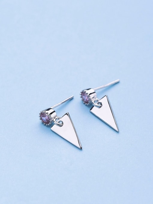 Silvery Exquisite Triangle Shaped Zircon drop earring