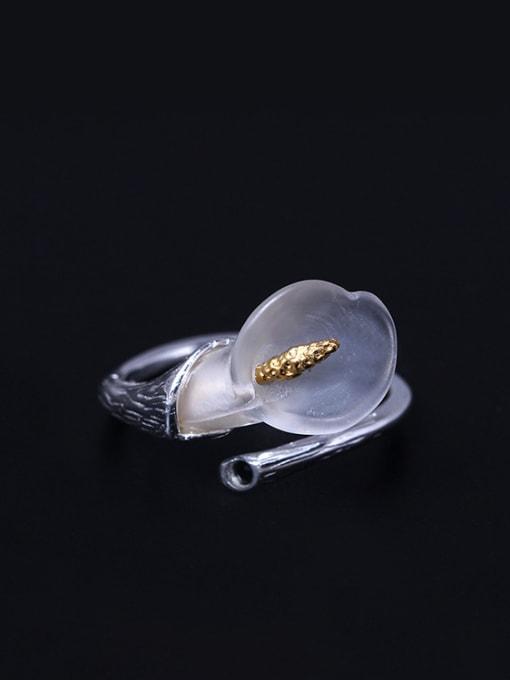 SILVER MI Crystal Flower Calla Opening Ring