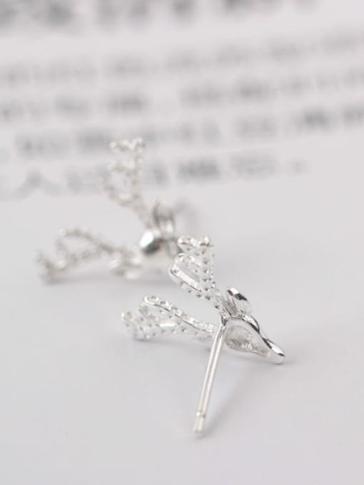 SILVER MI Lovely Deer Head-shape Christmas Stud cuff earring 2