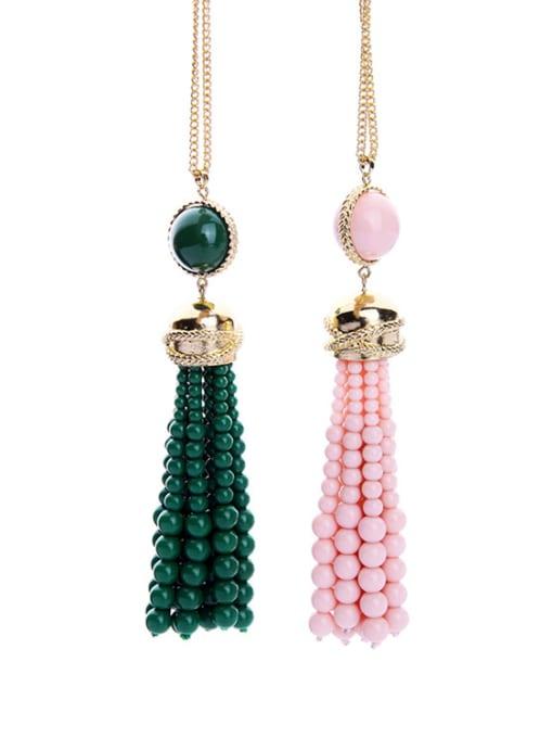 KM Long Tassel Stones weater Necklace 2
