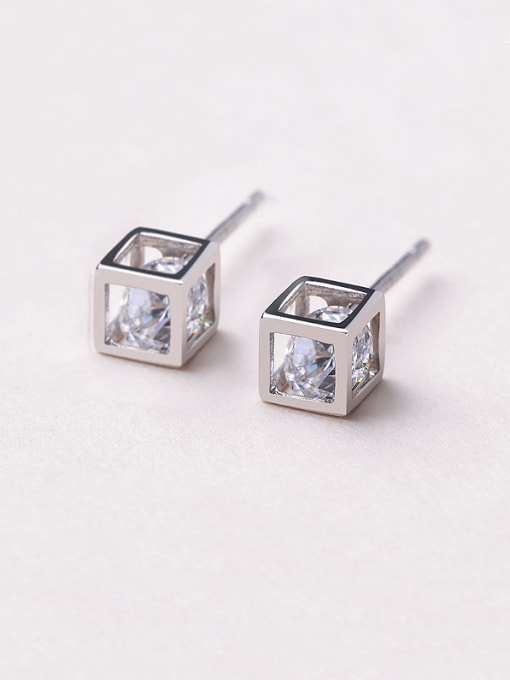 One Silver 925 Silver Temperament Square stud Earring 0