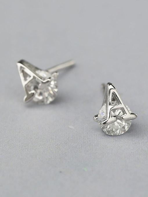 One Silver Women A Shaped stud Earring 0