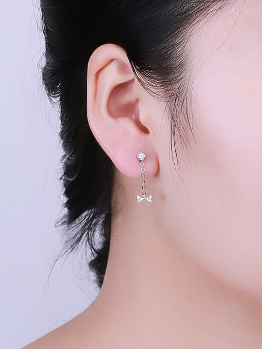 One Silver 925 Silver Bowknot Shaped threader earring 1
