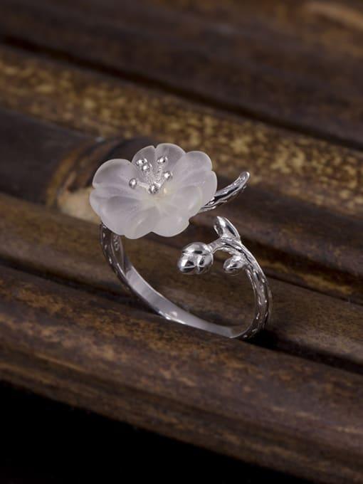 SILVER MI Fashion Crystal Flower Opening Ring 0