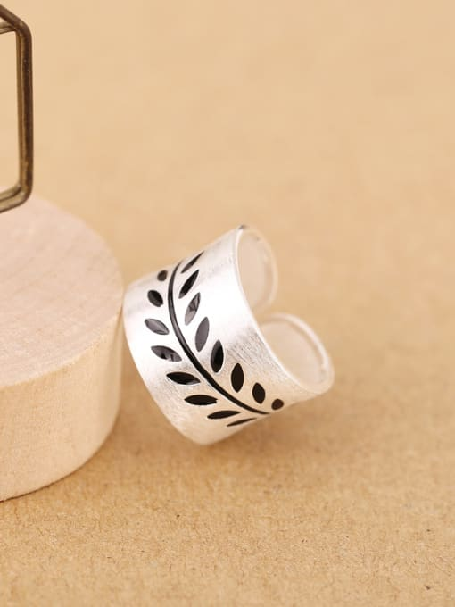 Peng Yuan Personalized Leaves Silver Opening Ring 3