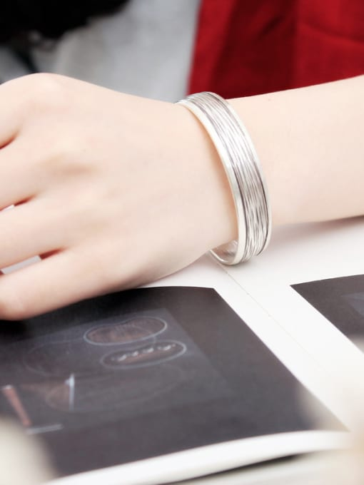 Peng Yuan Retro Sterling Silver Handmade Opening Bangle 1