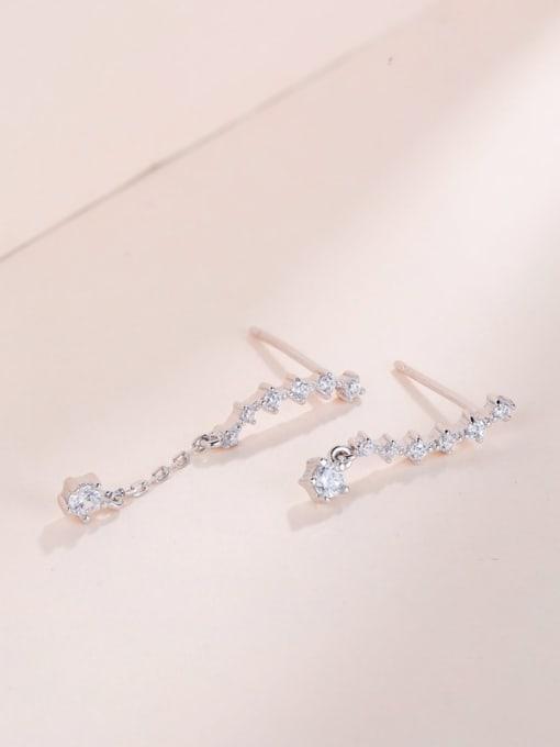 One Silver Trendy Round Shaped Zircon cuff earring 2
