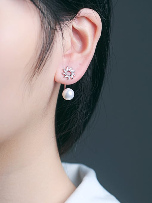 Peng Yuan Freshwater Pearl Zircon stud Earring 1
