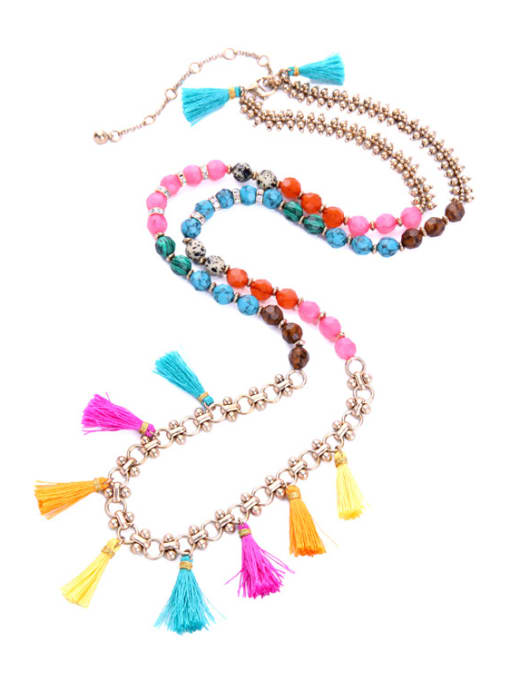 KM Long Colorful Sweater Necklace 1