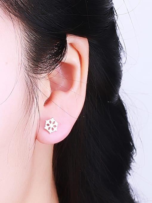 One Silver Temperament Hollow Flower Shaped Earrings 1