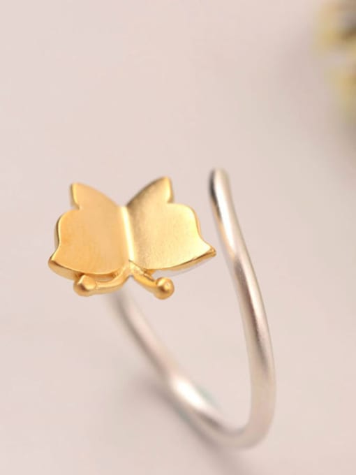 SILVER MI Two Color Plated Butterfly Opening Ring 1