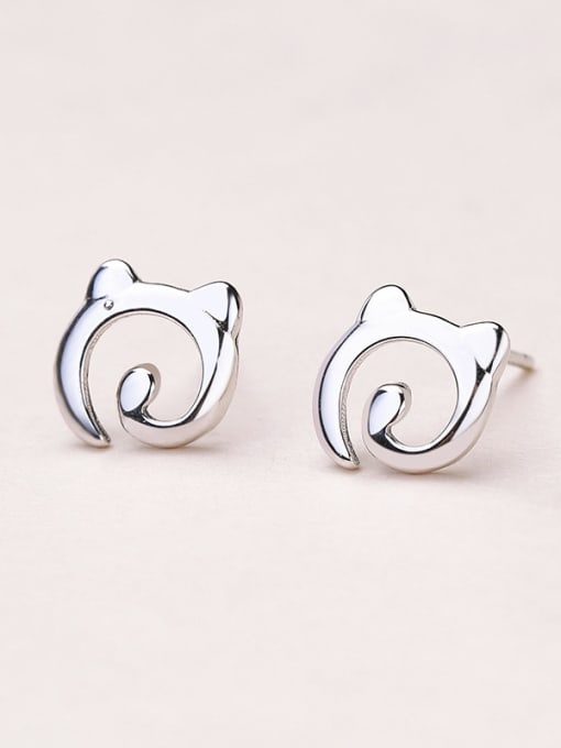 One Silver 2018 Exquisite Cat Shaped stud Earring 0