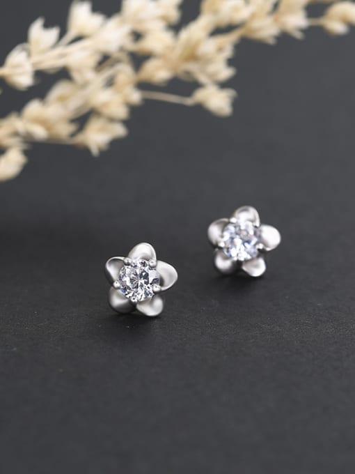 White 925 Silver Plum Blossom Shaped stud Earring