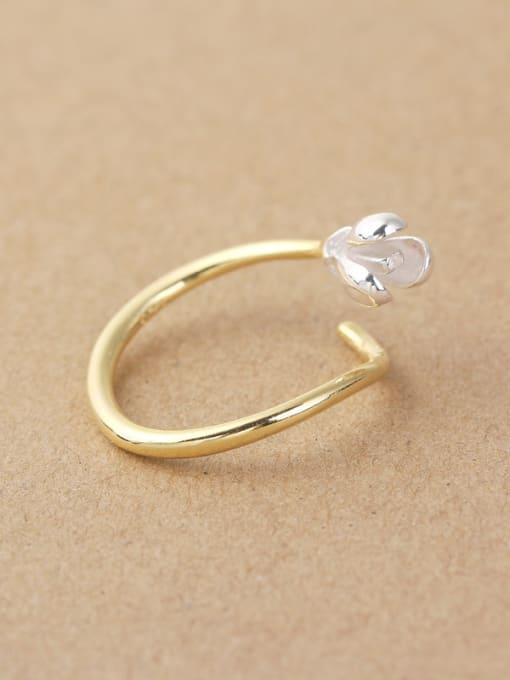 Peng Yuan 2018 Simple Flower Silver Opening Midi Ring 2