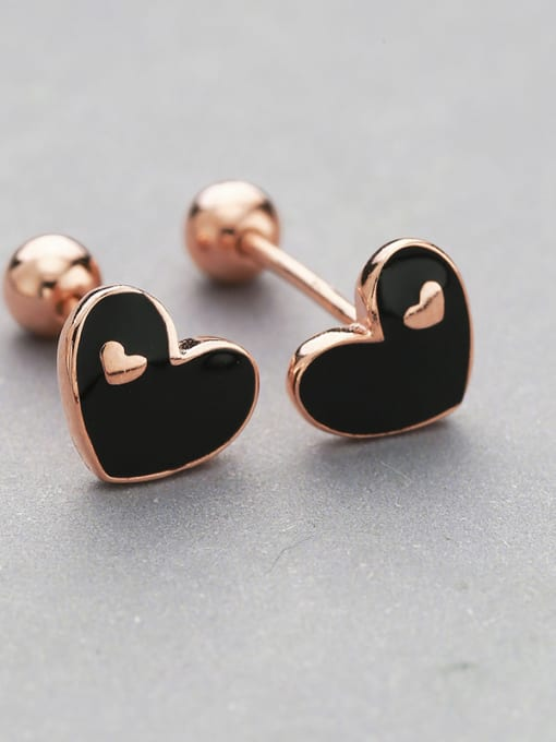 Black Rose Gold Plated Heart Shaped stud Earring