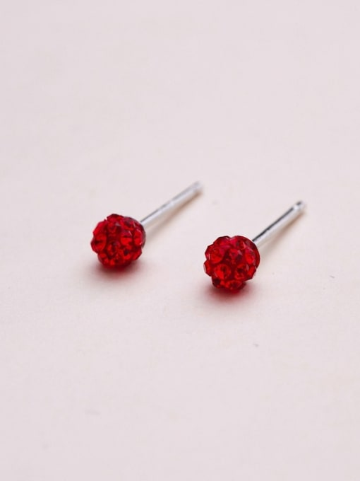 One Silver Women Round Shaped Zircon stud Earring