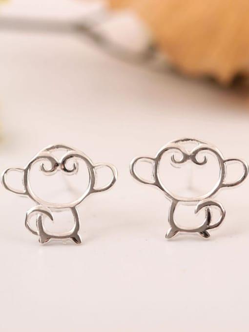 SILVER MI Hollow Monkey Shape Stud Earrings