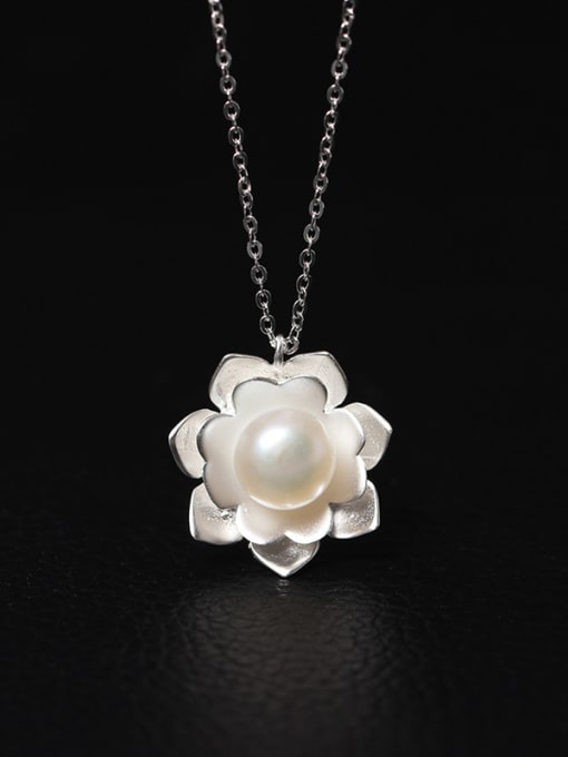 SILVER MI Aesthetic Palace Flower Women Necklace 0