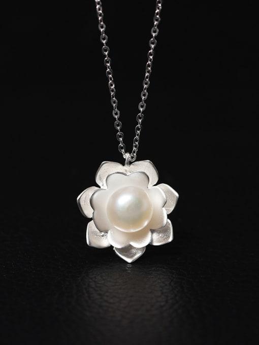 SILVER MI Aesthetic Palace Flower Women Necklace