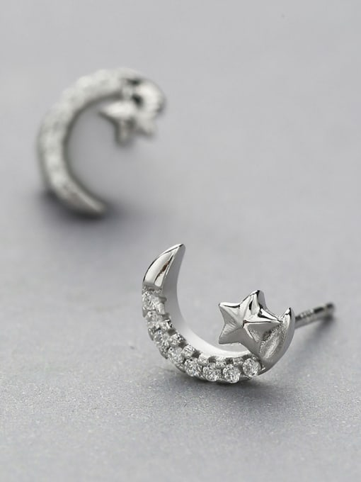 White Temperament Star And Moon cuff earring