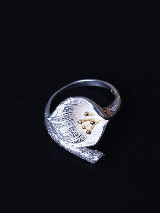 SILVER MI Creative Lotus Women's Opening Ring