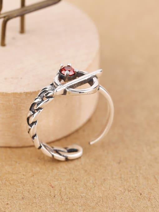 Peng Yuan Retro Zircon Chain Opening Midi Ring 2