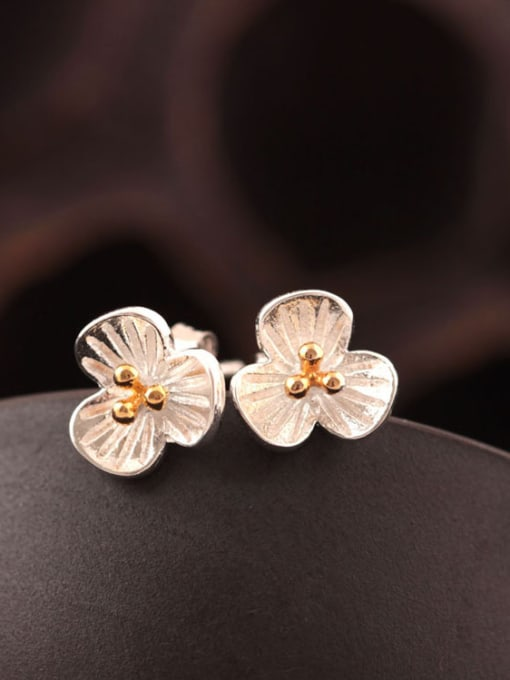 SILVER MI Doubles Color Three PetalS Flower stud Earring 0